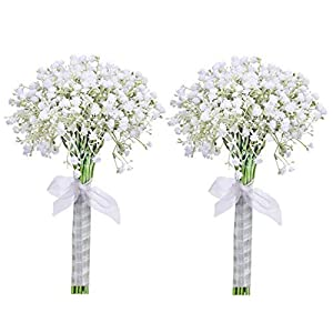 Lifelike White Artificial Baby's Breath Flowers wedding bouquet with Silk Ribbon Real looking Gypsophila Bridal Fake flower bunch for party Home table DIY Decoration Centerpieces-2 Pack 48PCS