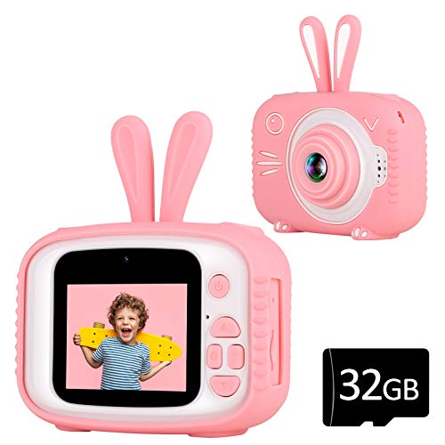 YOUSAMS Kids Camera Toys Gifts for 2-12 Year Old Boys Girls Kids Selfie Camera Camcorder 2.0 Inch IPS Screen with 32GB Card for Toddler Children Christmas Best Birthday Gift (Pink)