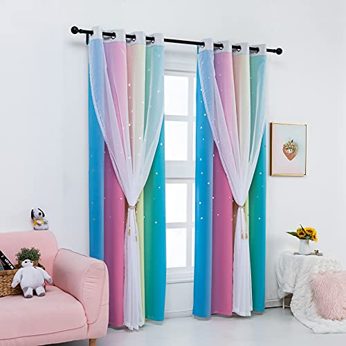 """Drewin 2 Panels Rainbow Curtains for Girls Bedroom 63 Inches Length Stars Cut Out Colorful Blackout Curtain Kids Room Darkening 2 in 1 Ombre Stripe Double Layer Window Drapes Tulle Nursery,52""""Wx63""""L"""