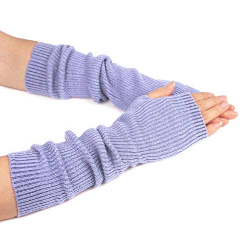 Flammi Women's Knit Arm Warmer Gloves Warm Cashmere Long Fingerless Mittens with Thumb Hole (Violet)
