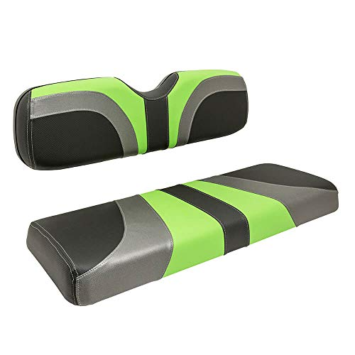 RED DOT Blade Front Seat Covers for Club Car DS (2000-2015) Golf Carts (with one-Piece seat Back) (Lime Green/Charcoal/Carbon Fiber)