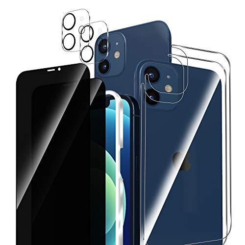 ELYCO [6 Piezas] Compatible con iPhone 12 Mini Intimidad Protector de Pantalla+Trasera Cristal Templado+Protector de Lente Cámara, 9H Dureza Anti-Voyeur Cristal Templado Compatible con iPhone 12 Mini