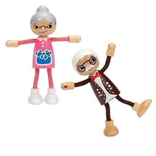 Hape Oma und Opa im Set / Biegepuppen / aus Holz / Set