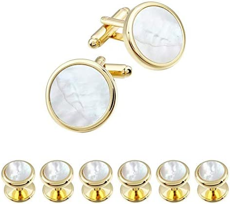 Vesna Classic Mother of Pearl Cufflinks and Studs for Wedding Mens Shirt Button (Gold 6 pcs Studs)
