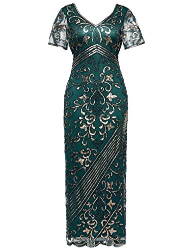 Coucoland 1920s Kleid Damen Kurz Ärmel Maxi Lang Flapper Abendkleid 20er Jahre Paillettenkleider Great Gatsby Cocktail Party Damen Fasching Kostüm Kleid (Dunkelgrün, L)
