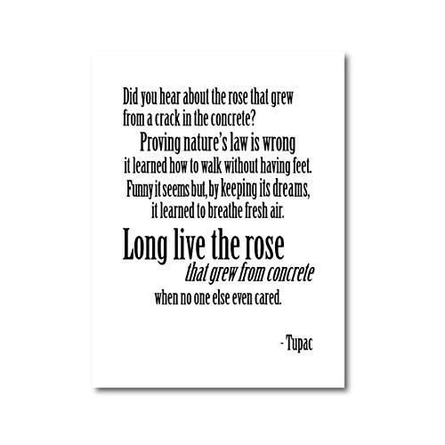 Poster Rose Lyric Leinwand Kunst wächst aus konkreten Gedichten Inspirierende Zitate Wohnheim Home Decoration 60x80cm