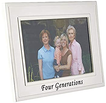 Lawrence Frames Sentiments Collection Brushed Metal 4 by 6 Four Generations Picture Frame
