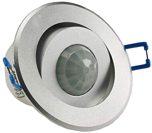 1-10x plafond inbouw bewegingsmelder 360 aluminium LED geschikt 6m zwenkbaar zilver modern 1er Plafondinbouw 360°, zilver