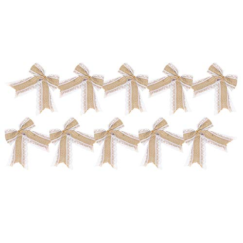 Jeanoko Exquisita pajarita de arpillera de 10 piezas cómoda decoración de manualidades para bodas