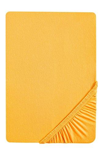 Castell 0077113 Jersey-Stretch Spannbetttuch (Matratzenhöhe max. 22 cm) (Baumwolle) 140x200 cm -> 160x200 cm, kurkuma