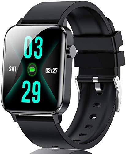 DOOK Reloj Inteligente Hombre Smartwatch Deportivo Rastreador Actividad Reloj Inteligente Pantalla Táctil Completa Entrenamiento Respiratorio IP68 Impermeable Compatible con Android IOSBlack