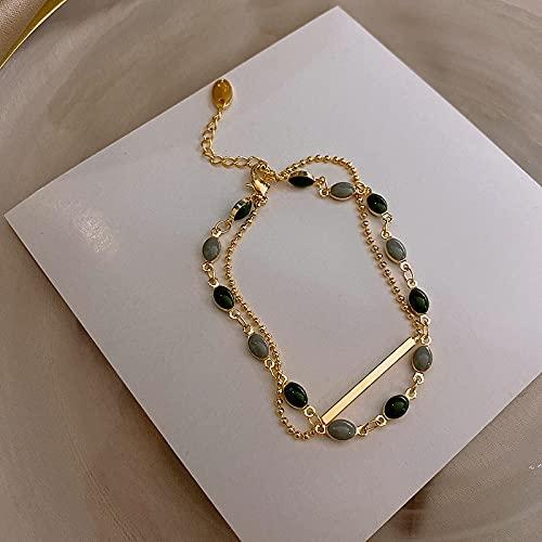 Taosheng Exquisita cadena llena de oro real de 14 quilates, pulsera de piedra natural de cristal simple, joyería para mujer, aniversario sorpresa (color de la gema: oro)