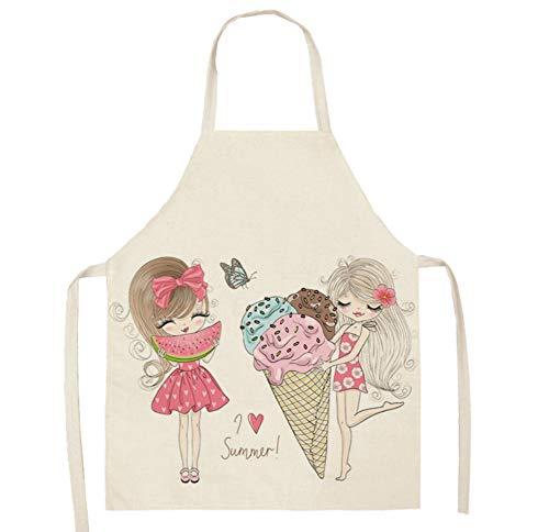 JZZCIDGa Schürze Frauen Schürzen Chefkoch Küche Kochen Frauen Mutter Kochen Küche Backen Küchenschürzen Adult Girl Und Wassermelone Und EIS