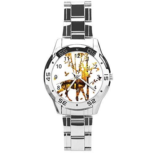 Reloj clásico de cuarzo de tres manecillas con correa de acero inoxidable, esfera de silueta de árbol de alce, correa automática ajustable, plateado, para unisex, el mejor regalo (41 mm)