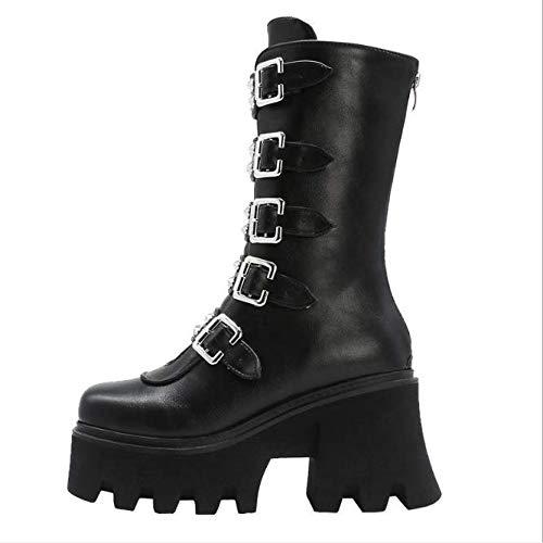 Hongya Winter Sexy Gesp Vrouwen Mid Kalf Laarzen Lederen Blok Hak Gothic Zwarte Punk Stijl Platform Schoenen Schoeisel Maat 35-42