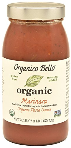 Organico Bello - Organic Gourmet Pasta Sauce - Marinara - 25oz (Pack of 6) - Non GMO, Whole 30 Approved, Gluten Free