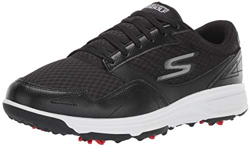 Skechers Men's Torque Sport Fairway Relaxed Fit Spiked Golf Shoe, Black/White, 11 M US