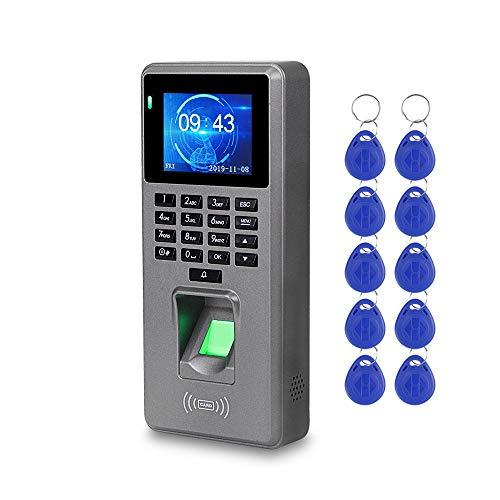LUCINE Control de Acceso de Huellas Dactilares Teclado RFID Sistema de Control de Acceso Biométrico USB Máquina de Asistencia de Reloj de Tiempo Electrónico +10 Llaveros