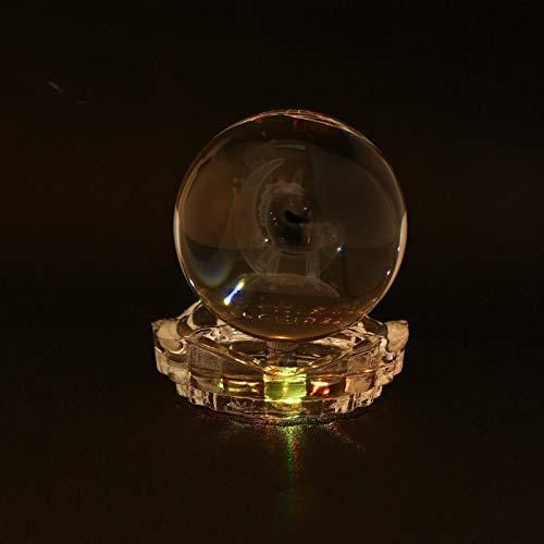 Mobestech 3D Bola de Cristal Luz Noturna Unicórnio Lâmpadas de Golfinhos Com Base de Lâmpada Led para Presente de Aniversário para Crianças Professor de Física Presente para Namorada