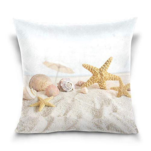 Asekngvo Throw Pillow Cover 18x18 Pulgadas, Summer Beach Shell Starfish Fundas de Almohada Decorativas Funda de cojín para sofá Sofá Cama Hogar