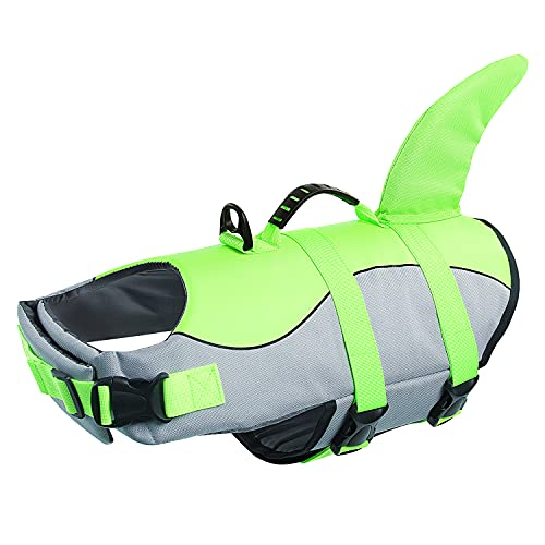 Queenmore Ripstop XXLarge Dog Life Jacket Fish Style Floatation Vest with Adjustable Soft Rubber Handle Grey Shark,XXL