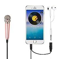 DMTRAB for. 3.5mmの男性+ 3.5mmの女性の港の小型家庭の携帯電話が歌われ、iOS/Androidシステムと互換性のあるソングメタルコンデンサーマイクロフォン (Color : Pink)