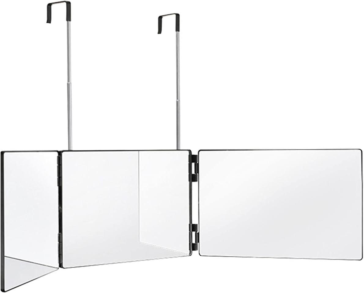 SDFLKAE Espejo de 3 vías, espejo de maquillaje de 360 grados de altura ajustable trifold plegable herramienta cosmética ducha, colgante para baño, puerta de dormitorio (1)