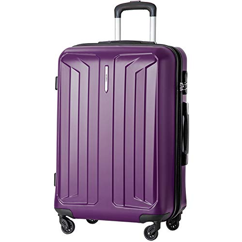 "MERAX Suitcase Lightweight Hard Shell Luggage Travel Bag 4 Wheels 2 Years Warranty 20/24/28 (24"", Purple)"