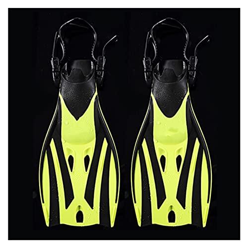 BOJSQ Aletas de Buceo Aletas de natación para niños Zapatos de Rana de Buceo Ajustables Silicone Professional Equipo Entrenamiento Snorkeling Largo Kids Bucking Fippers (Color : Yellow SizeLXL(32 36)