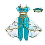 FINDPITAYA Disfraz Aladin Vestido de Niñas Princesa Jasmine Cosplay Costume con Sombrero (7-8 años)