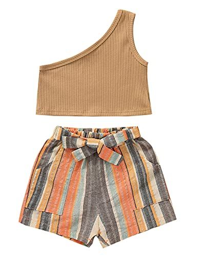 2Pcs Cute Toddler Baby Girl Clothes Summer Outfits Lace Sleeveless Vest Tops+Elastic Waist Denim Shorts 18M-6T (One Shoulder-Khaki, 2-3T, 2_Years)
