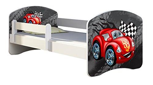Kinderbett Jugendbett mit einer Schublade und Matratze Weiß ACMA II 140 160 180 40 Design (140x70 cm, 04 Rote Auto)