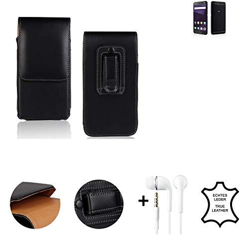 K-S-Trade® Leder Gürtel Tasche + Kopfhörer Für ZTE Blade V8 64 GB Seitentasche Belt Pouch Holster Handy-Hülle Gürteltasche Schutz-Hülle Etui Schwarz 1x