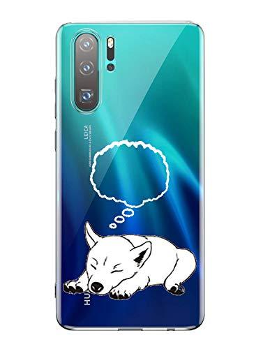 Oihxse Mode Transparent Silicone Case Compatible pour Huawei P20 Pro Coque, Ultra Mince Souple TPU Mignon Animal Série Protection de Housse Anti-Scrach Bumper Etui -Chien