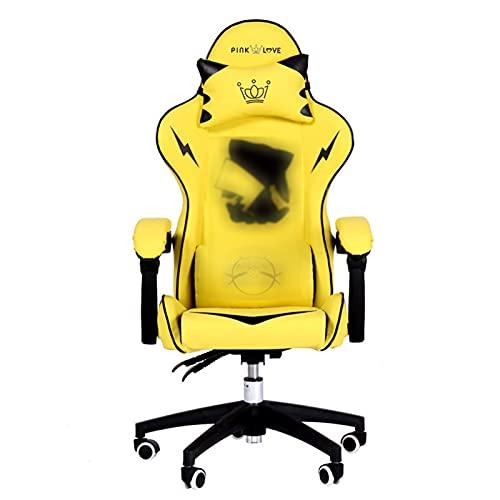 QJN Silla de Juego, Amarillo Hogar Computadora Rotating Asiento Juvenil Regalo Silla de Oficina Silla ergonómica para Jugadores Silla de Juego Lindo Yellow