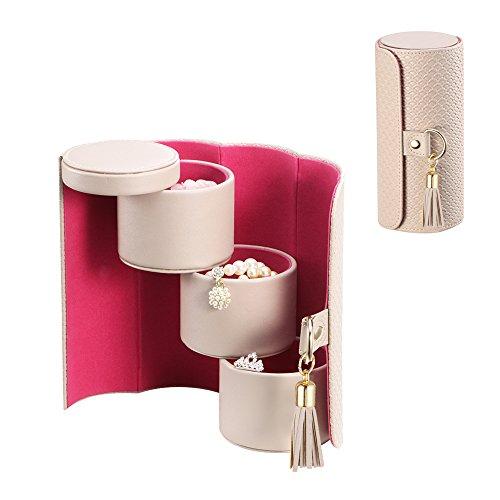 Vlando kleine tragbare Schmuck-Box für Reisen, Schmuck-Aufbewahrungskasten für Halsketten, Ohrringe, Broschen, Geburtstagsgeschenk, Partygeschenk (Grau)