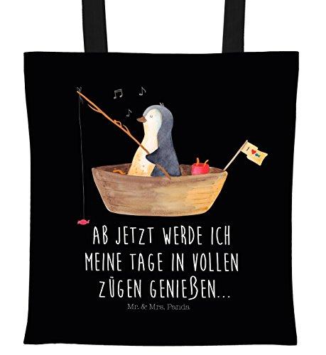 Mr. & Mrs. Panda Beutel, Umhängetasche, Tragetasche Pinguin Angelboot mit Spruch - Farbe Schwarz