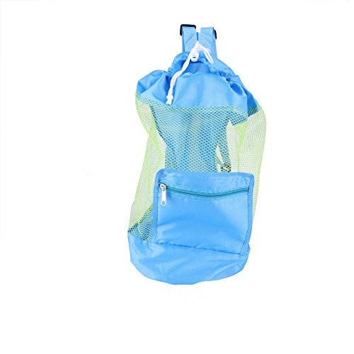 Rucksack Faltbar Tasche Kindermaschen Strandspielzeug Tasche Strandtasche Kordelzug tragbare große Tasche für Sandspielzeug Wasserspielzeug Rücksack Beutel für Kinder (Blau)