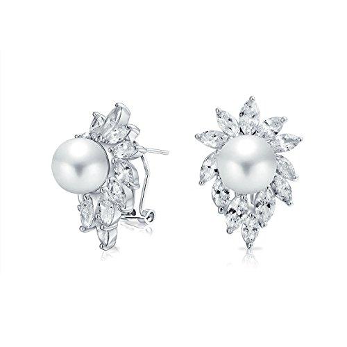 Braut Blatt AAA CZ Marquise Weiß Simulierten Perle Ohrstecker Für Damen Für Hochzeit Omega Zurück Messing