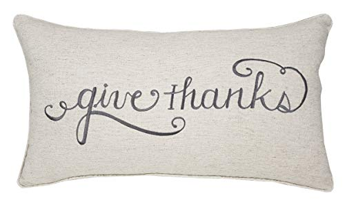 ADecor Pillow Covers Thank You Pillowcase Embroidered Pillow Cover Decorative Pillow Standard Cushion Cover Gift Love Couple Wedding Housewarming P337 (14X24, Give Thanks(Linen))