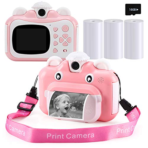 Barchrons Instant Print Digital Kids Camera 1080P Rechargeable Kids Camera for Girls Video Camera with 32G SD Card for 3-12 Years Old Girls Boys Children's Day