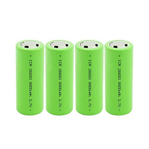 RECORDARME 26650 Lithium-Akku 3.7 V 8800 mAh Hochleistungs-Akku Geeignet, für Taschenlampen-DVD-Camcorder-Spielzeug 4Stückig