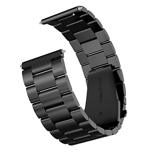 Gear Sport/Gear S2 Classic Watch Band, Infiland Stainless Steel Metal Replacement Strap Wrist Band for Samsung Gear Sport SM-R600/ Gear S2 Classic SM-R732 & SM-R735 SmartWatch - Black