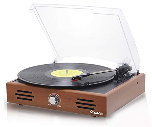 LAUSON JTF035 Retro Plattenspieler | USB | Record Player | Schallplattenspieler Vinyl | Plattenspieler mit Lautsprecher | 3 Geschwindigkeitsstufen (33/45/78), Holz