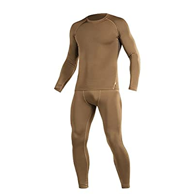 M-Tac Thermal Underwear Set for Men Base Layer Fleece Lined Top & Bottom Ultra-Soft (Coyote Brown, XXL)