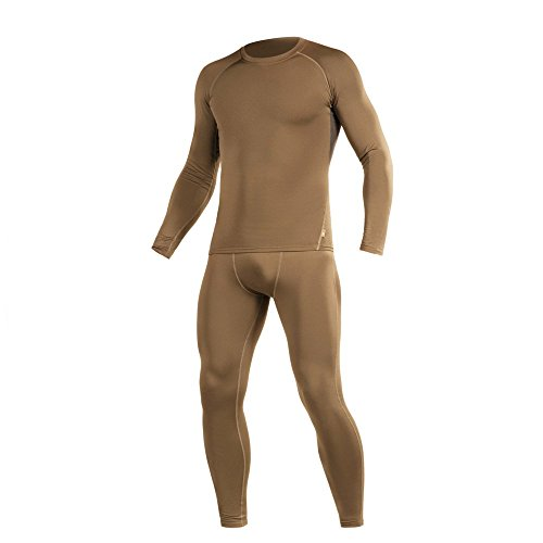 M-Tac Thermal Underwear Set for Men Base Layer Fleece Lined Top & Bottom Ultra-Soft (Coyote Brown, L)