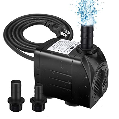 WAYDA 200GPH Submersible Water Pump 15W Ultra Quiet Fountain Water Pump with 2 Nozzles, Perfect for Fish Tank, Aquarium, Pond, Hydroponics, Statuary