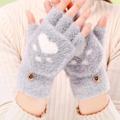 Rainny Women's Winter Warm Gloves, Cat's Claw Fingerless Gloves, Knitted Fluff Outdoor Clamshell Gloves 1 Pair (Color : 2, Gloves Size : One Size)