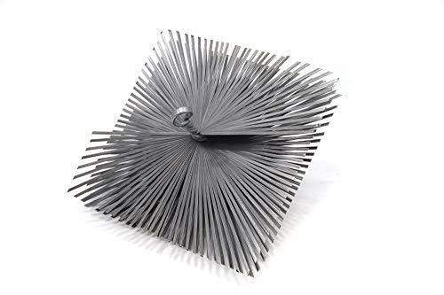 Pyro Feu 862625 Cabezal Deshollinador cuadrado en acero 200 x 200 mm rosca métrica 12, Gris