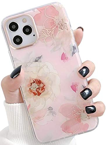SDUXAPN Case for iPhone 11 Pro Pink Retro Flowers Luxury Glitter Sparkle Bling Slim Stylish Cute Vintage Floral Fashion Design Protective Soft Bumper Drop Proof Cover for Girls Women